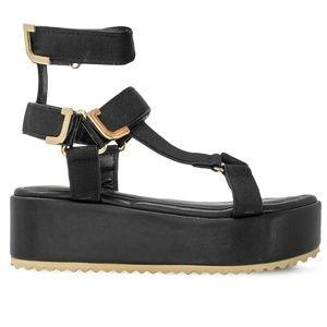 Women's Ankle T-Strap Black Platform Espadrilles